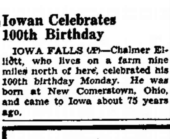 Chalmer 100th birthday