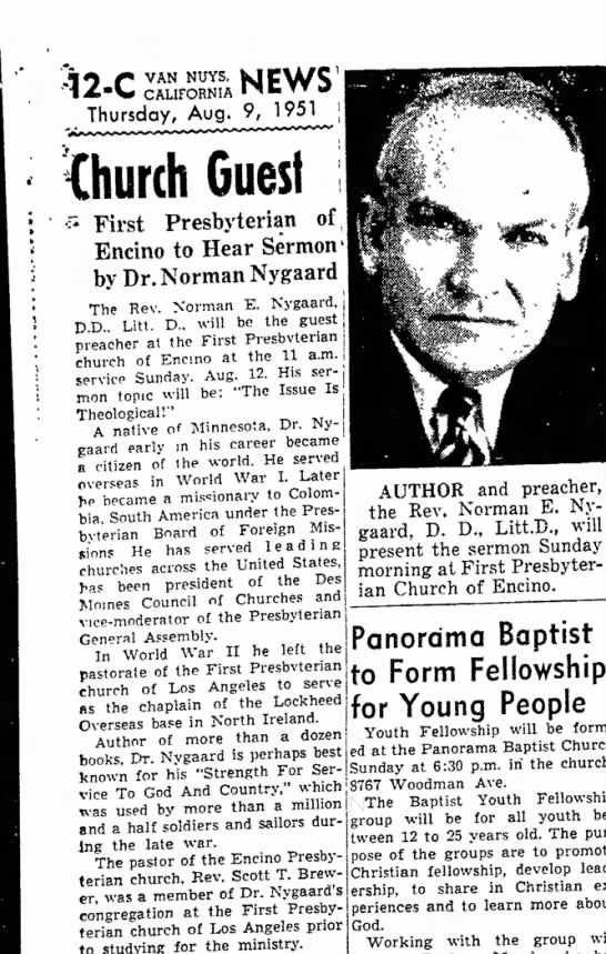 Rev. Norman E Nygaard, The Van Nuys News (Van Nuys, California) 9 August 1951