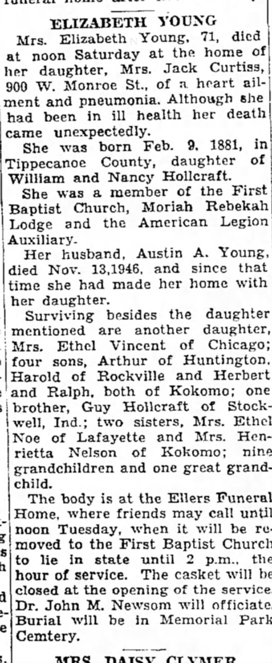Elizabeth Young obit 12 May 1952