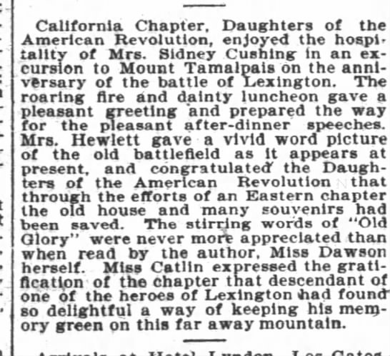 Miss Catlin Daughters of American Revolution 5/6/1900