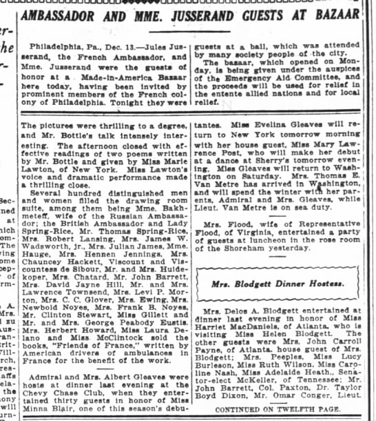 Mention of Bahkmetief and Evelina WP 12/14/1916