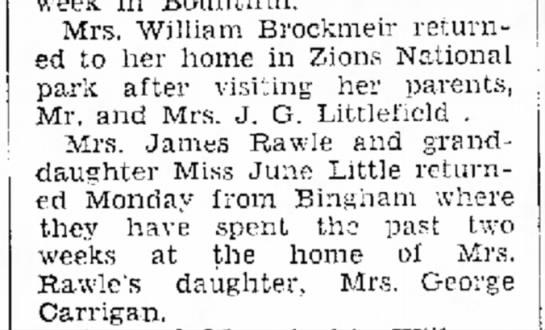 1934 Margaret Rawle & June Little visit Carrigan fam in Bingham