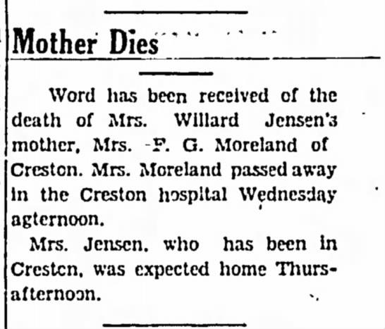 Flora (Balius) Moreland death received wife Daniel Lee Moreland