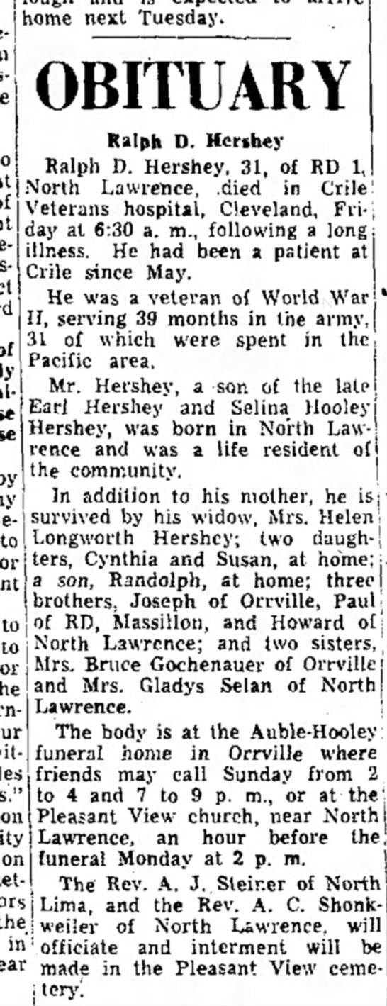 Ralph D Hershey 31 ys old