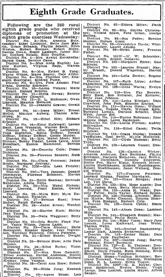 Blanche Kocian 8th Grade Graduate from Lincoln Evening Journal - 25 May 1937