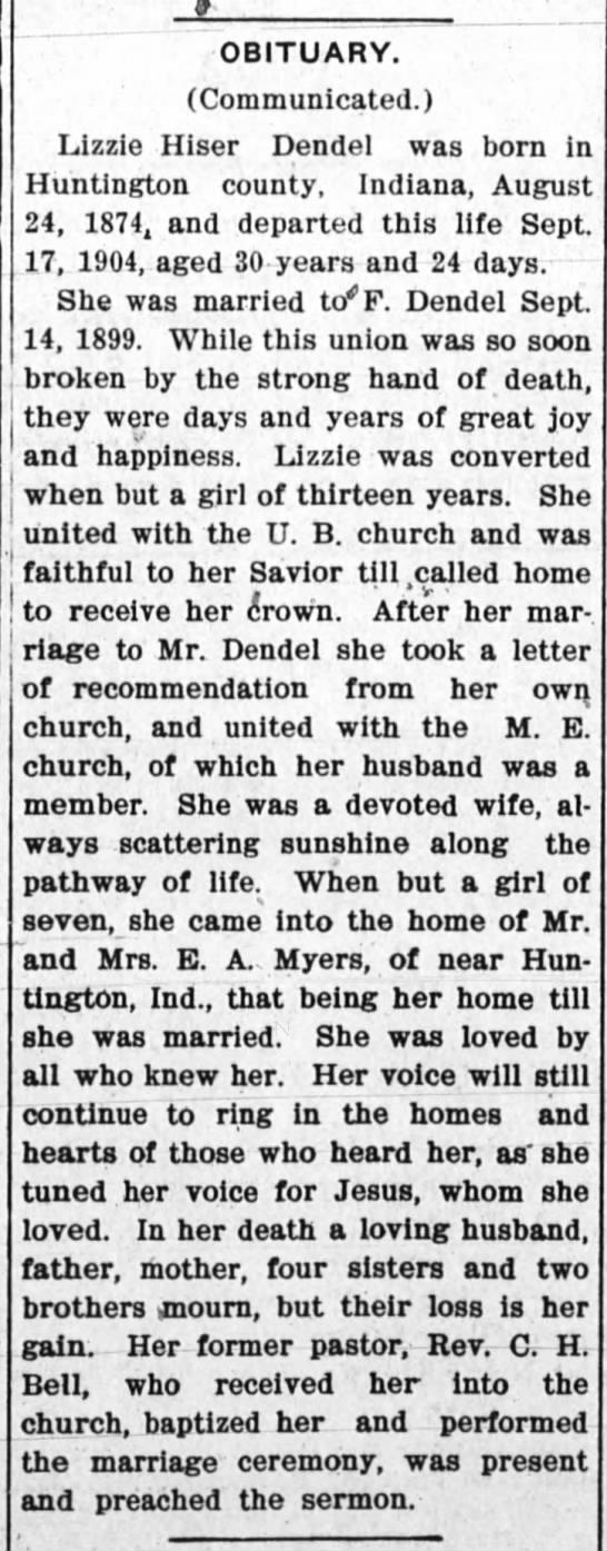 1904 September 22 - Lizzie Hiser Dendel Obituary