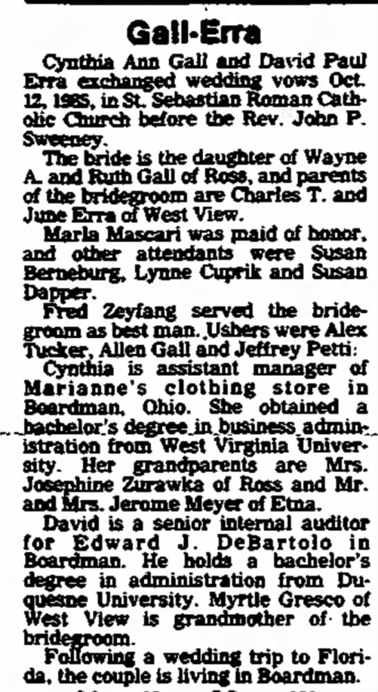 Erra/Gall Wedding Announcement from The North Hills News Records, 10 Dec 1985, p.12