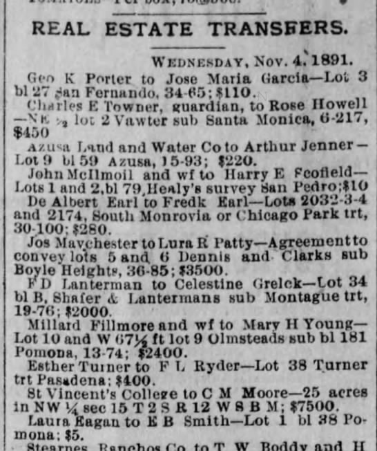 Celestine Grelck real estate purchase 5 Nov 1891