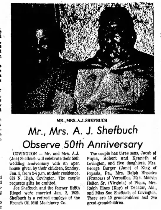 AJ and Edith Shefbuch 50th anniversary, Piqua Daily Call, 30 December 1974, page 4 column 6