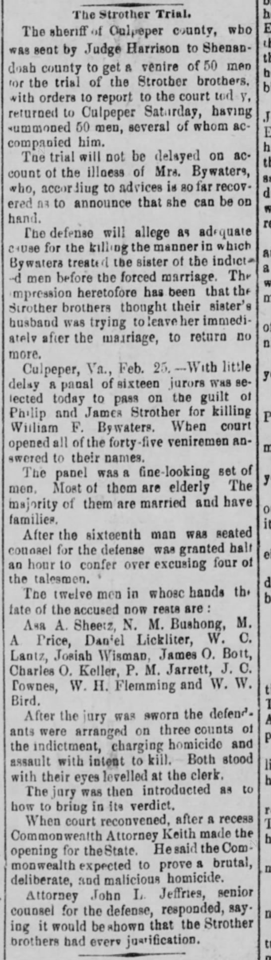 25 Feb 1907 Culpeper tragedy - 50 men from Shenandoah County; selected 16 jurors