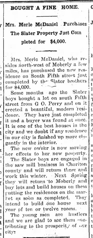 Merle McDaniel - Moberly Weekly Monitor, 20 Nov 1908 p1
