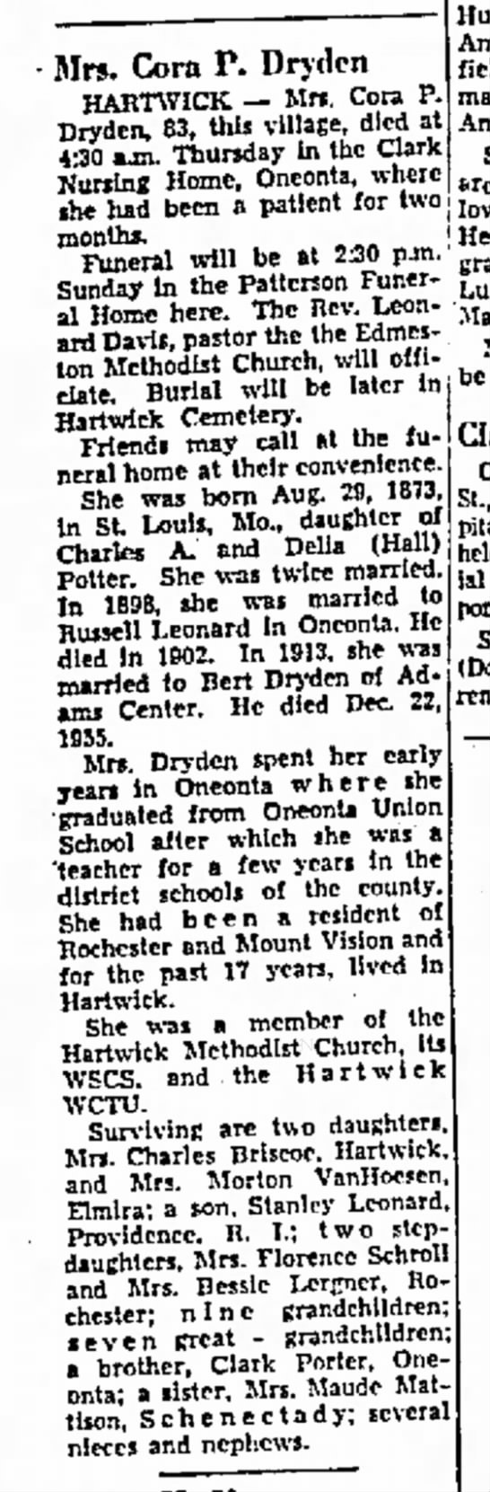 CORA P DRYDEN OBIT - JAN 25 1957