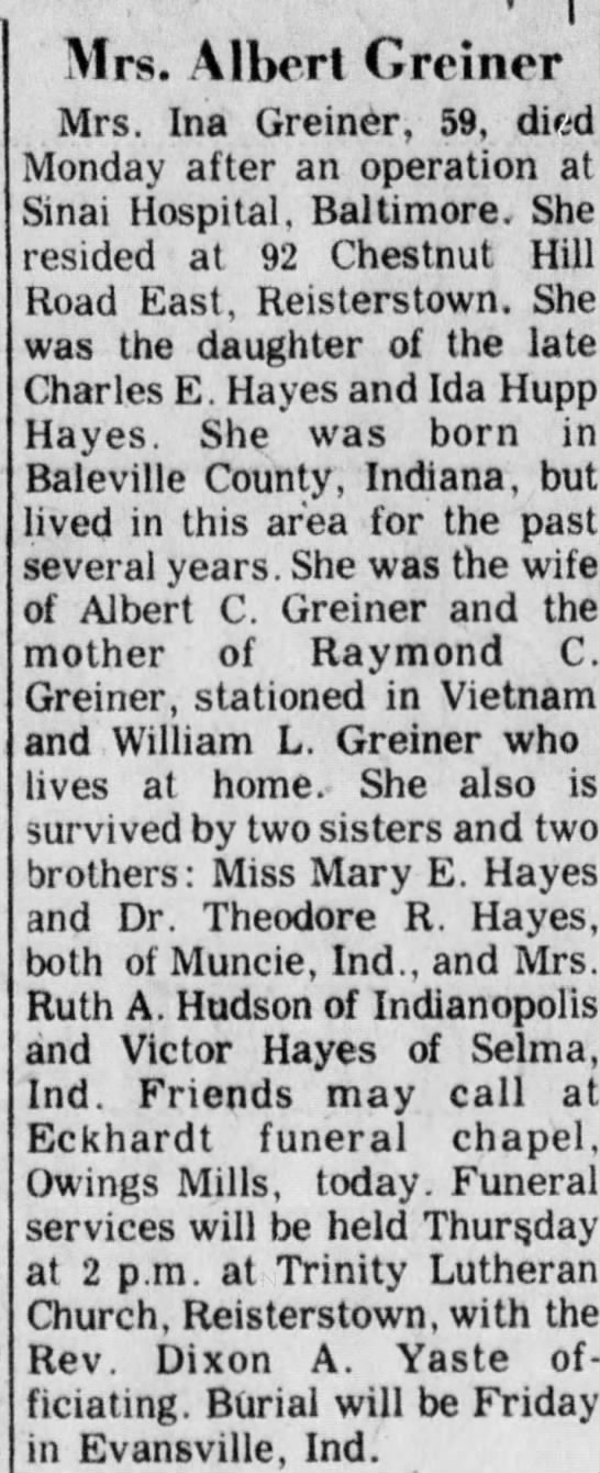 Ina Belle Hayes Obit The Evening Sun Hanover PA 22 Apr 1970