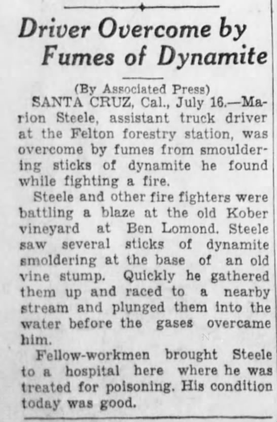 Driver Overcome by Fumes of Dynamite 7/17/1941