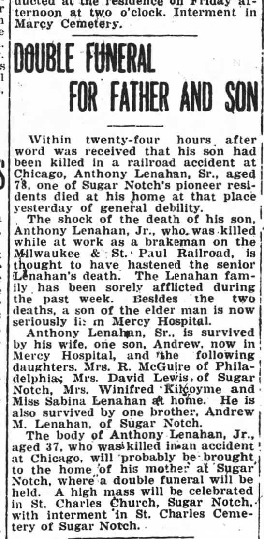 Anthony Lenahan Sr & Jr died in 1917, Sugar Notch