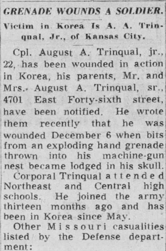 August Trinqual Jr wounded in Korean war