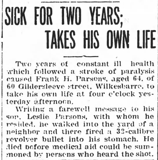 Frank H. Parsons Pittstown Gazette 9 May 1916
