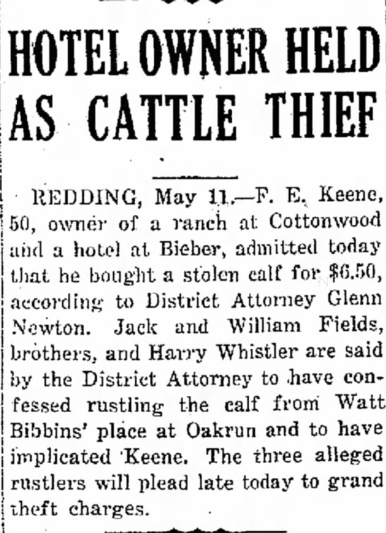 F.E. Keene of Cottonwood is cattle thief?