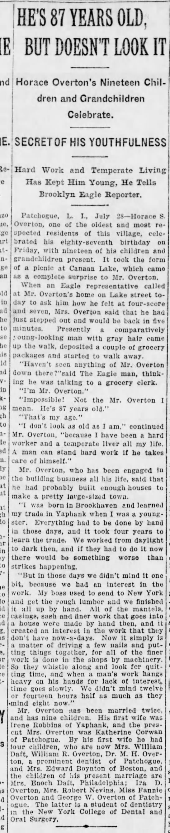 Horace Overton Article, Brooklyn Daily Eagle, 1913