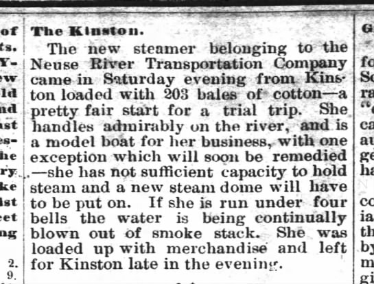 Kinston History  Steamboat Kinston New Berne Weekly Journal Sept. 28, 1882