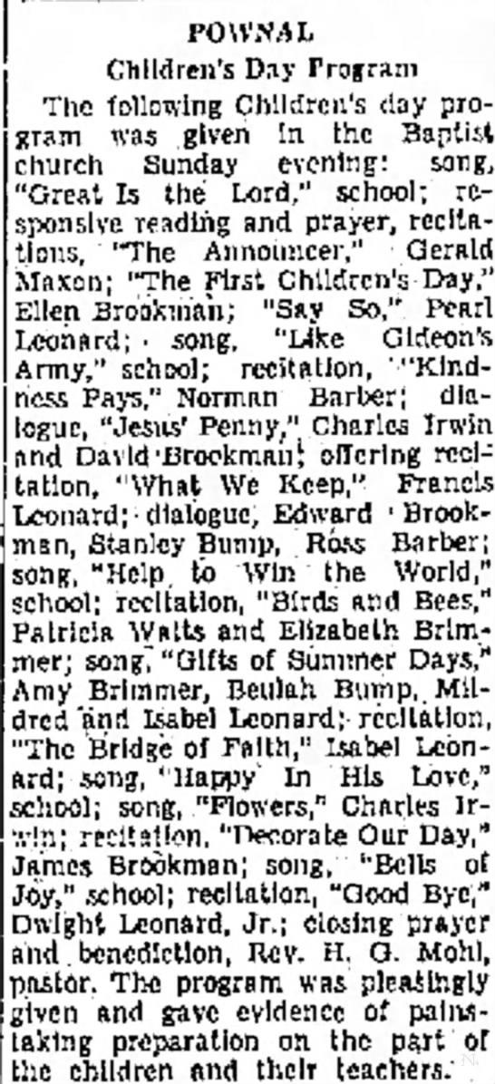 Christmas program Patricia Watts  June 10, 1935