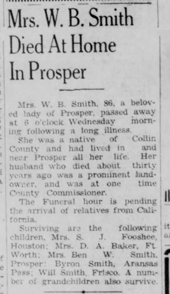 Mrs. W. B. Smith death - McKinney Courier-Gazette - Aug. 25, 1943