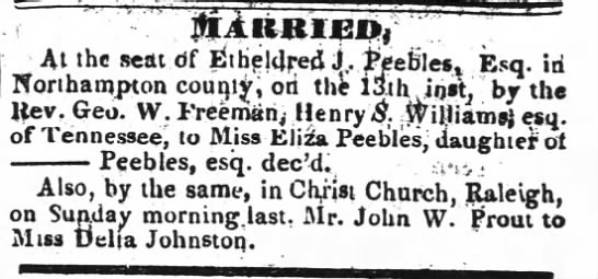 Prout married to Delia Johnson 1836