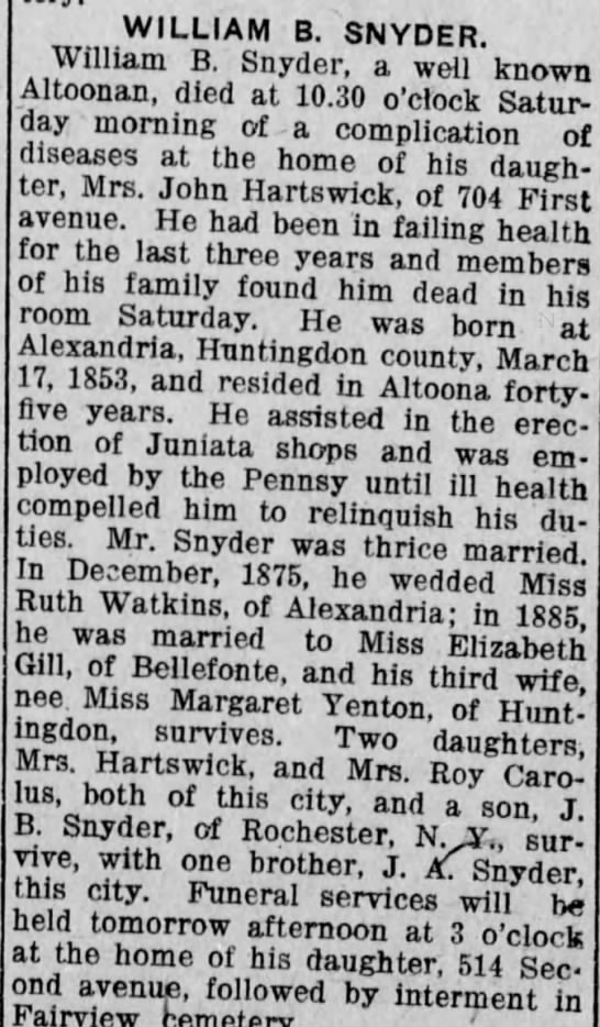 William B Snyder Obituary Altoona Tribune Monday, June 26, 1916 (P12)