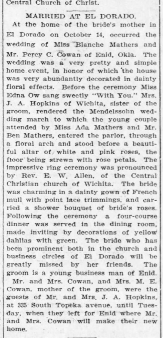 Ada Mathers marries Percy Cowan  Oct.14, 1908