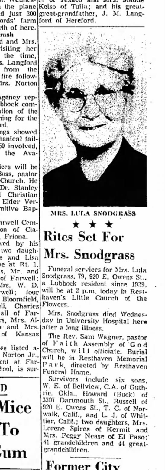 Lula Evans-Snodgrass Obit w/Photo