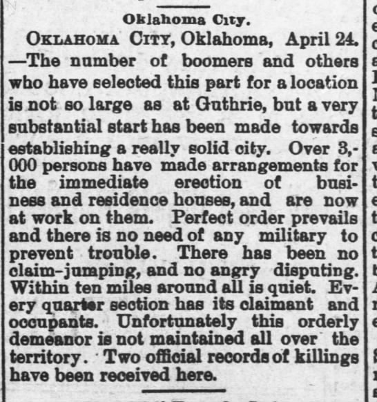 Oklahoma City settled during land rush