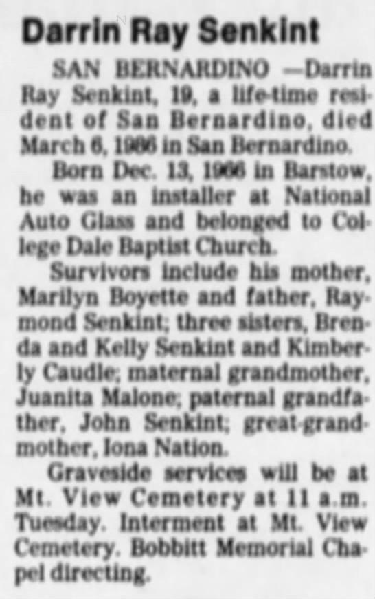 Obituary of Darrin Ray Senkint