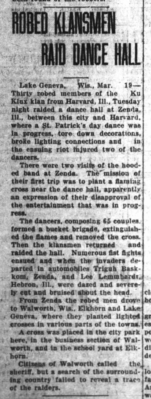 Dance Hall - KKK Raids Republican-Northwester 20 MAR 1925