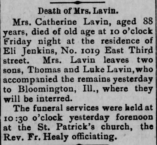 Death of Mrs. Catherine Lavin - 1902