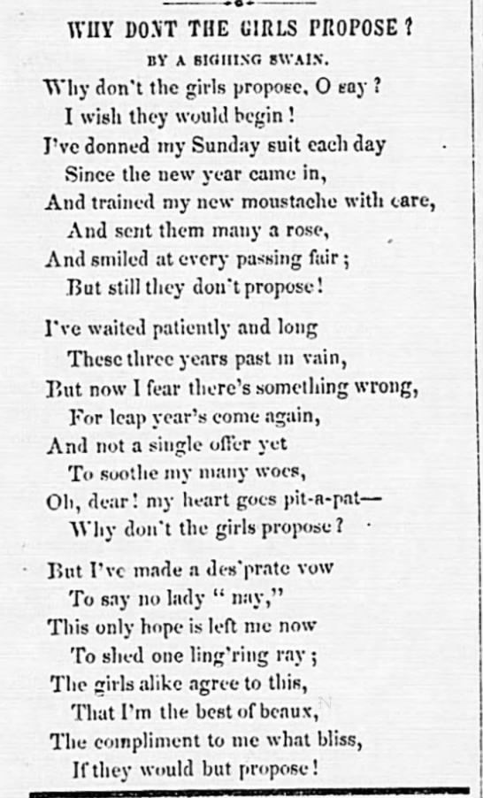 1852: Leap Year poem