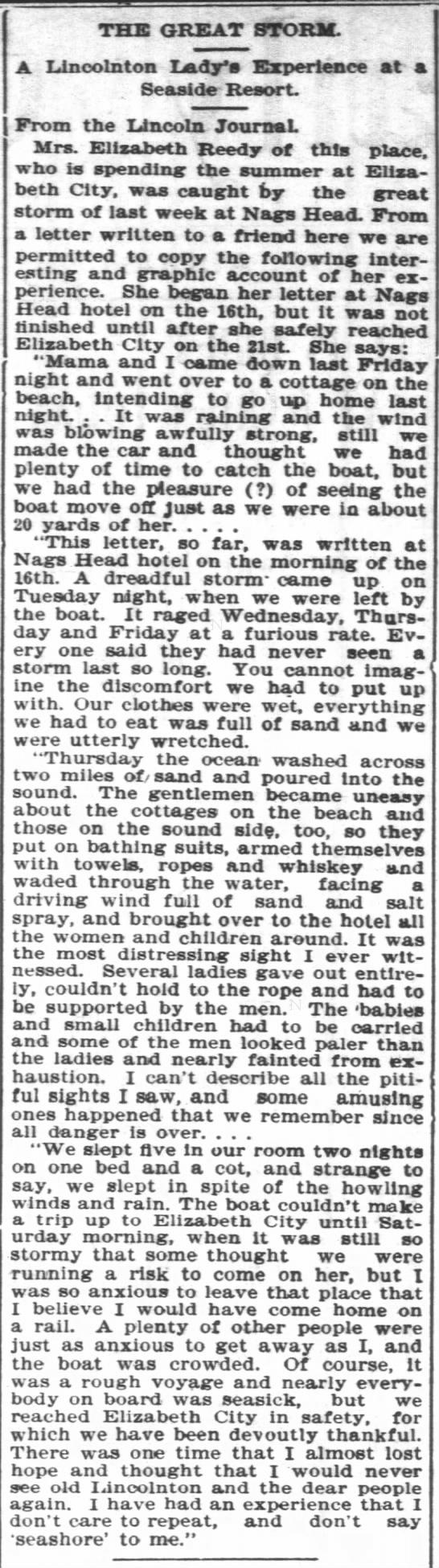 Elizabeth Johnson Reedy in Hurricane at Nags Head 1899