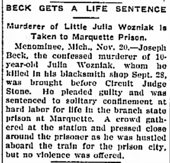 Beck gets life sentence article Nov 20 1902