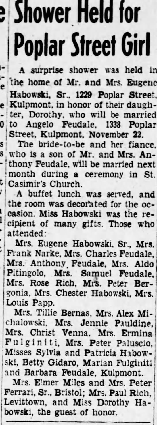 1956, Oct.31....Bridal shower for Dorothu Habowski