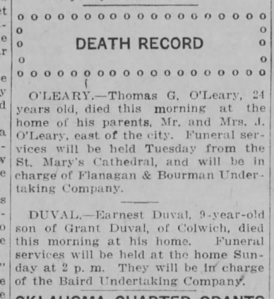 thomas oleary 1916 obituary at Calvary Cemetery in Wichita Kansas