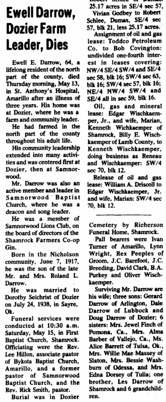 Ewell Darrow Obituary 1962