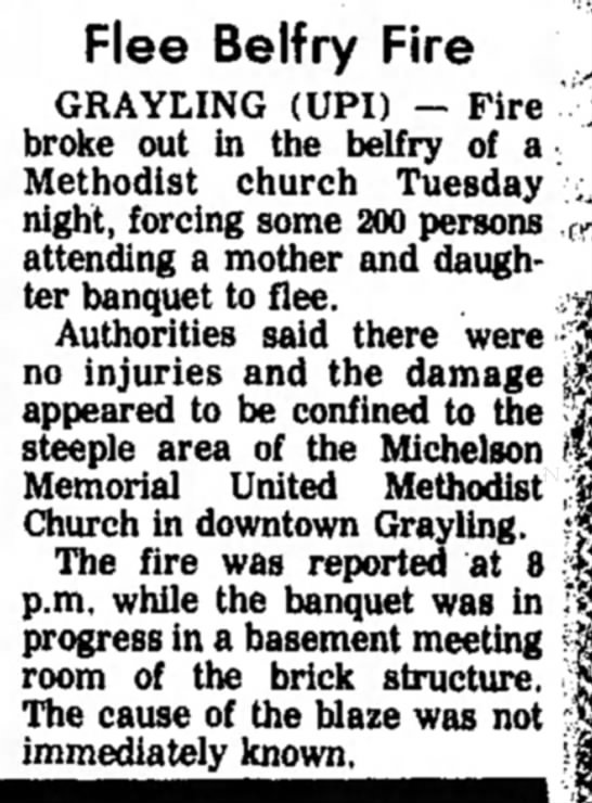 Belfry Fire-Michelson Church, 4 May 1977