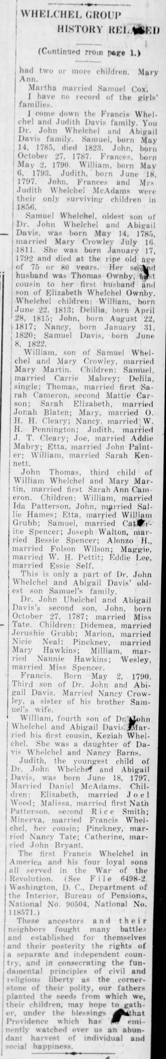 Whelchel Group History