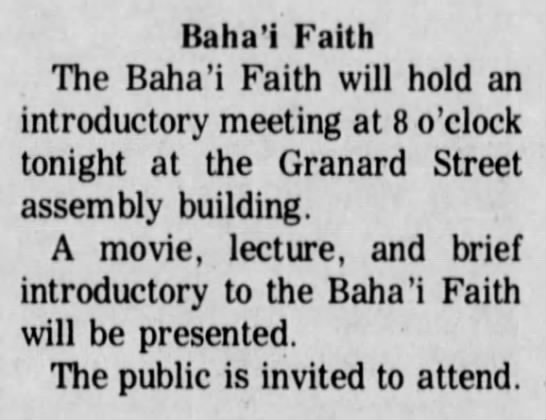 Baha'i meeting