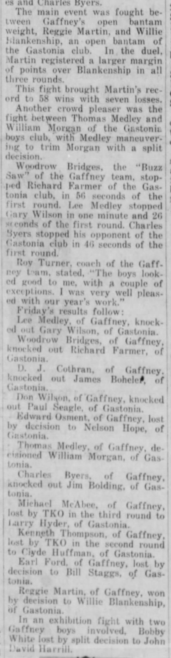 Feb 26, 1957 Gaffney boxers win at Gastonia cont.