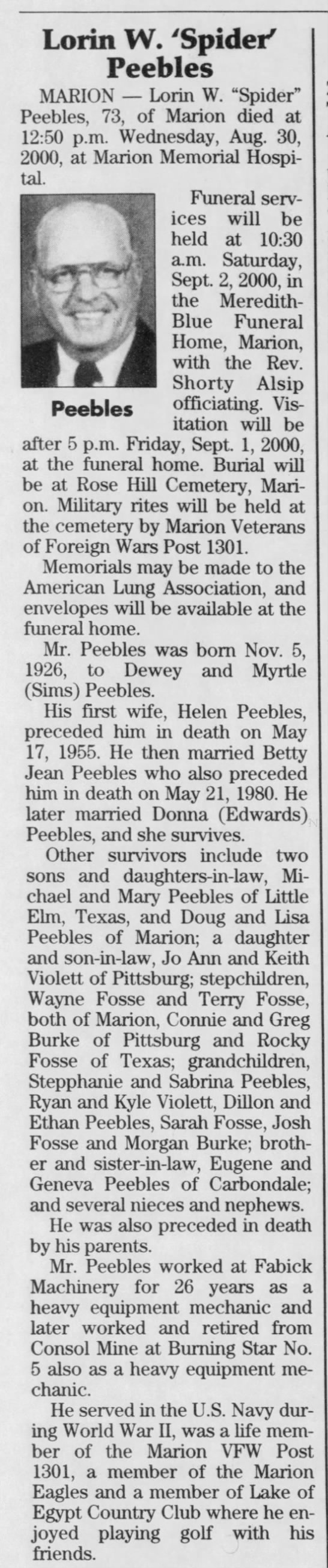 LORIN Peebles Death and Burial SI