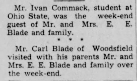E. E. Blade & family connections.