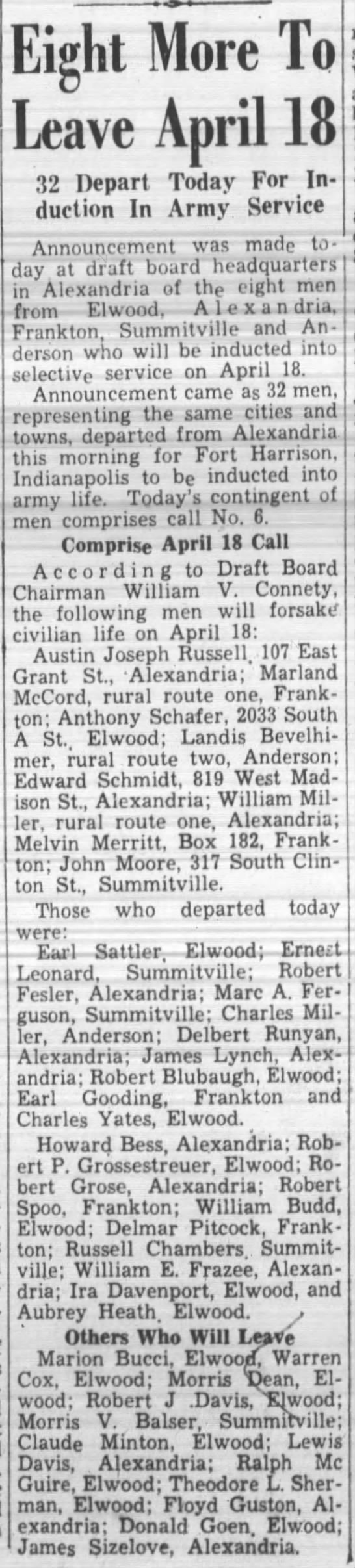 Robert P Grossestreuer departs April 5, 1941 for Army induction