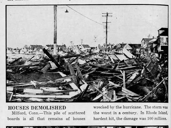 Houses in Connecticut totally destroyed by 1938 hurricane