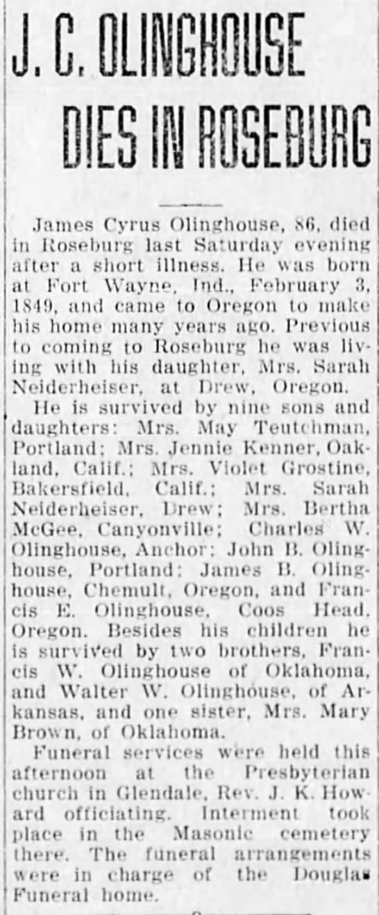 James Cyrus Olinghouse obit--The News-Review, Roseburg, Oregon--6 May 1935