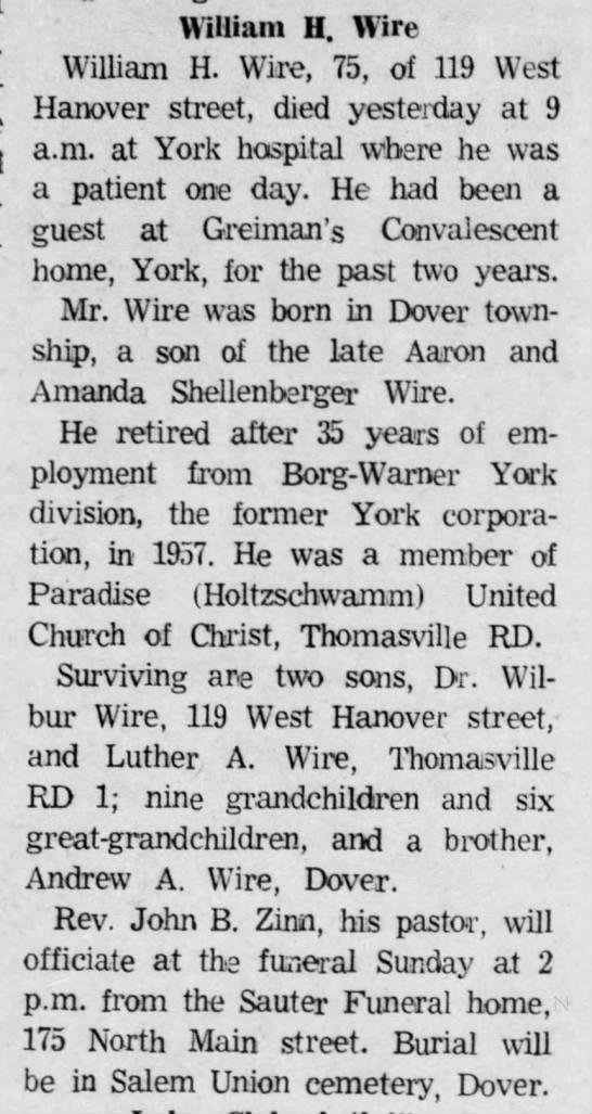 William H Wire (Sr.) Obit- died on 13 Aug 1970